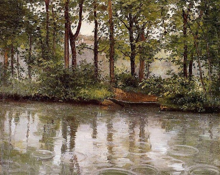 Pintura de Caillebotte, Chuva em Yerres (1875, Indiana University Art Museum). --- «A chuva falta nos meses mas nunca falta no ano» . -...
