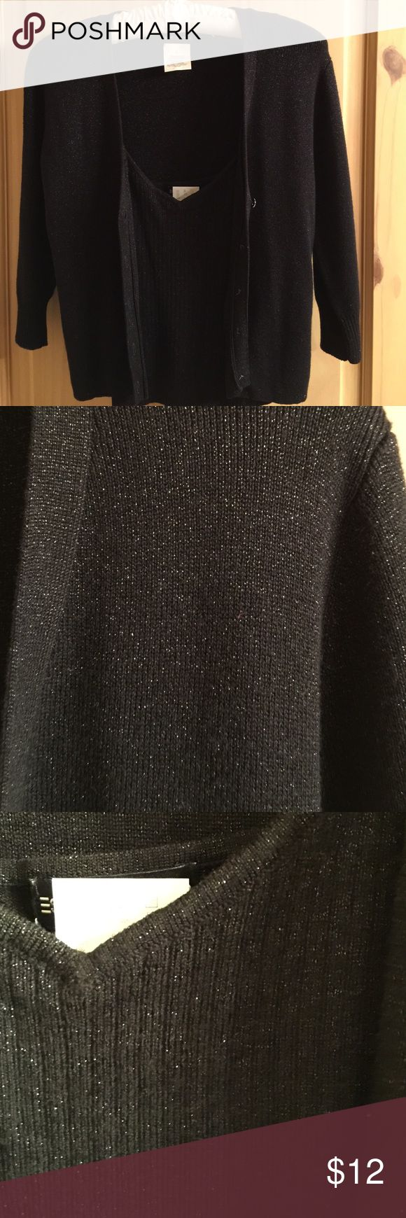 """Sparkly cami and sweater set Black sparkly (silver) cami with spaghetti straps and sweater with 5 buttons. Cami is v neck. Sweater has 3/4 length sleeves that measure 16"""". Overall length is 21"""". Good condition. Espirit de Corp Tops Camisoles"""
