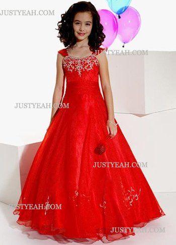 Party Jurken-Rood satijn vloer lengte kleine meisjes kleden