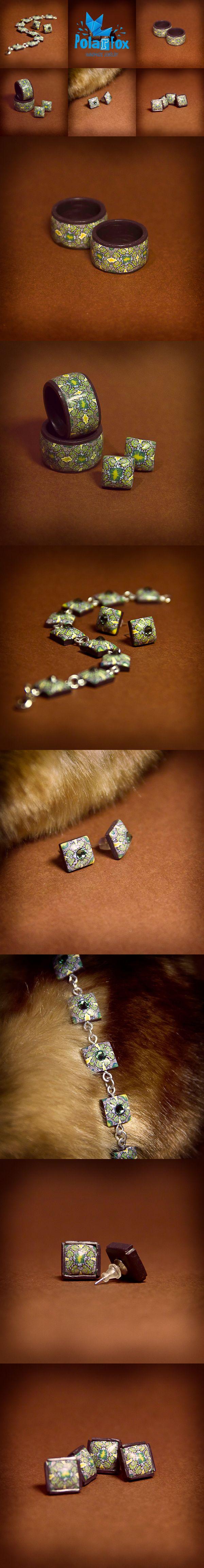 polymerclay, fimo, beads, kaleidoscope, cane, green, ring, earrings, bracelet, handmade, jewelry, hobby, polarfoxcraft