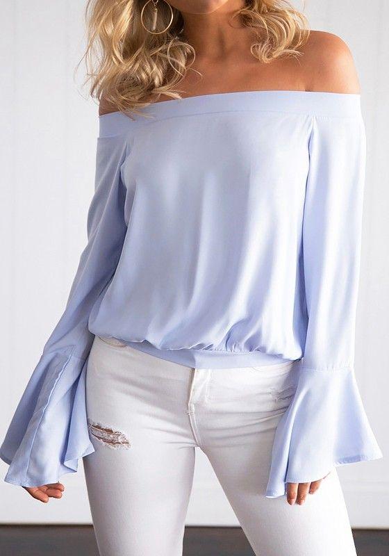 Light Purple Plain Boat Neck Dolman Sleeve Fashion T-Shirt