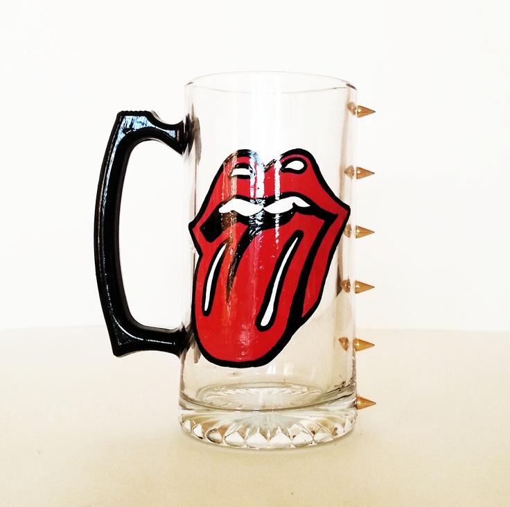 Rolling stones beer mug – spikes – black handle – hand painted  ©