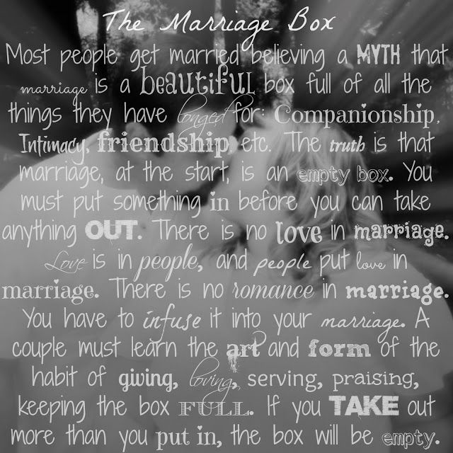 The Marriage Box: Most people get married believing a myth; that marriage is a beautiful box full of all the things they have longed for: companionship, romance, sexual fulfillment, intimacy, friendship, laughter, financial security…if you take out more than you put in, the box will always be empty!