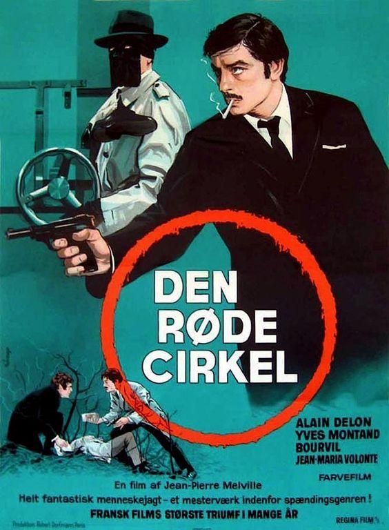 "Vintage Theatrical Folded Danish Movie Poster (measures 24 1/2"" x 33 1/2"" [62 x 85 cm]) - Le Cercle Rouge (Jean-Pierre Melville) - K. Wenzel"