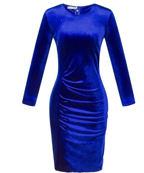 Hot New Fashion Women Spring Dress Pure Color Soft Casual Gold velvet Dresses Long Sleeve Casual Sexy Line Vestidos