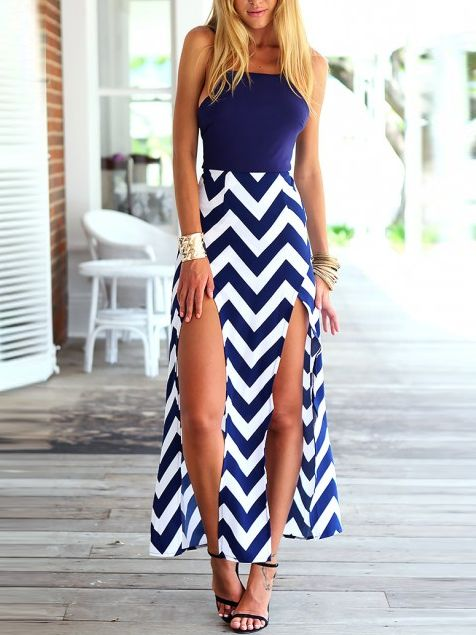 Navy Wave Print Maxi Dress Stripe Dress Summer