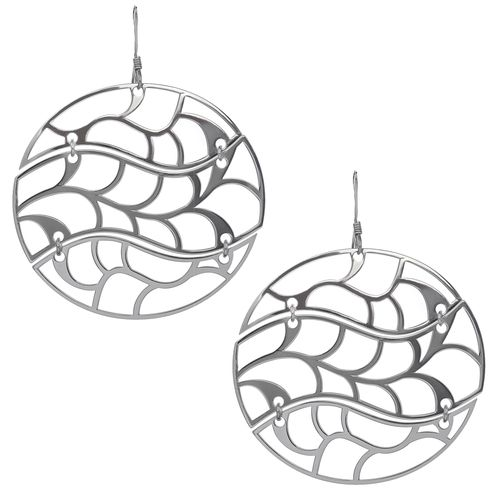 Silver Laser Cut Circular Hinged Earrings only $44 - purejewels.com.au