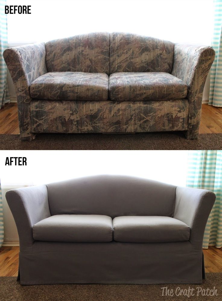 Awesome couch makeover with a custom slip cover. Sheesh... that couch was UGLY!