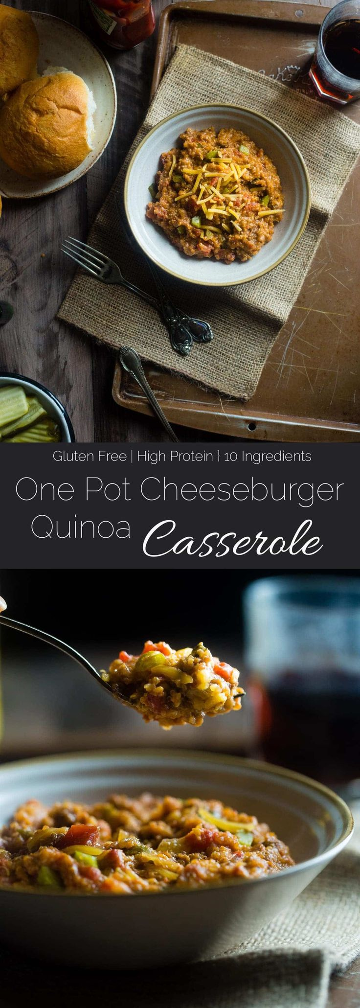 Cheeseburger Quinoa Casserole - This easy, one-pot cheeseburger casserole has all the cheeseburger taste you love but in healthy, gluten free weeknight dinner form! It's under 300 calories too! | Foodfaithfitness.com | @FoodFaithFit via @FoodFaithFit