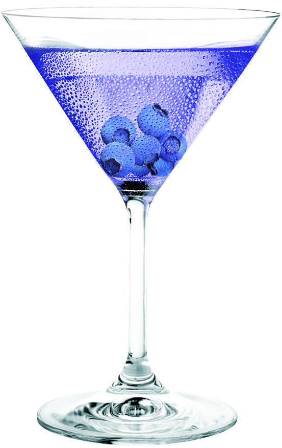 purple people eater martini | 1 oz. three olives purple vodka 1 oz. peach schnapps 4 oz. cranberry juice | pour vodka and schnapps into a martini glass filled with ice and top with cranberry juice. garnish with a few blueberries.