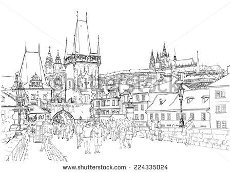 Charles Bridge Prague Czech Republic Vector Drawing Posters