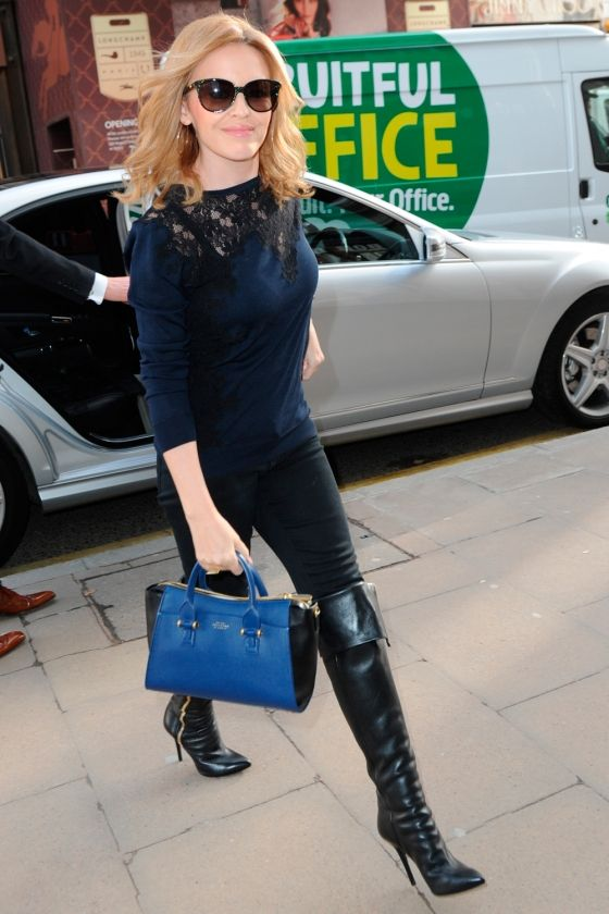 Kylie Minogue Rocks Her High-Knee Boots Out In London, 2014