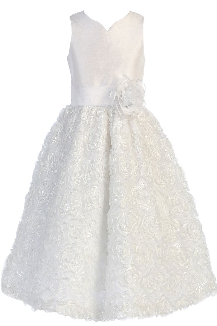 Satin Ribbon Flowers, Sequins, Tulle & Shantung First Holy Communion Dress (Girls Sizes 6 to 14)
