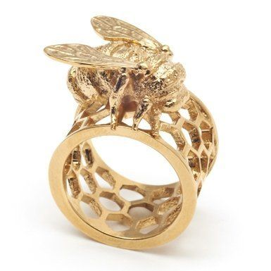 Honeycomb Bee Ring by Bill Skinner (Size M) - I'd feel a bit nervous about having a bee on my finger but could be an ideal gift for someone who loves bees, and would be a conversation starter.