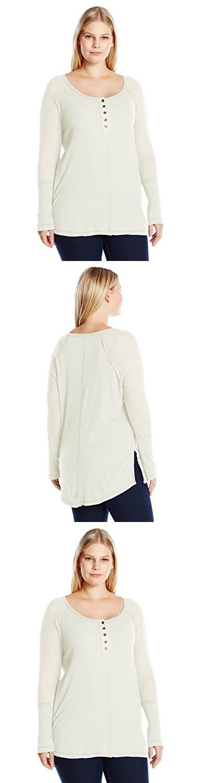 French Laundry Women's Plus Size Long Sleeve Waffle Rib Henley Shirt, Vanilla Cream, 1X