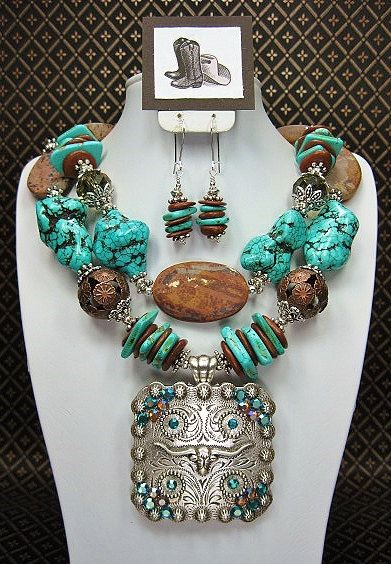 67 best cowgirl jewelry images on pinterest cowgirl jewelry turquoise brown longhorn cowgirl statement chunky western necklace set longhorn turquoise diva aloadofball Choice Image