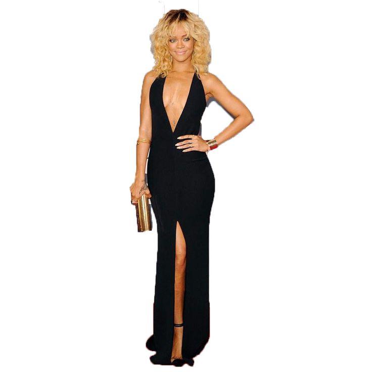 Rihanna Black Dress Chiffon Celebrity Dresses Deep V Neck Open Back Red Carpet Robe De Soiree Vestidos Sexy Woman Party Gowns