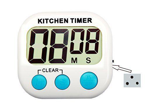 famiworks Minuteur numérique de cuisine avec grand écran, réglable et alarme, 3aimants Plus solide, support, piles incluses et arrêt…