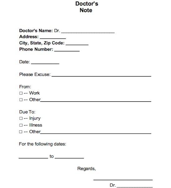 Printable Fake Doctors Notes Free Doctors Note Template Doctors