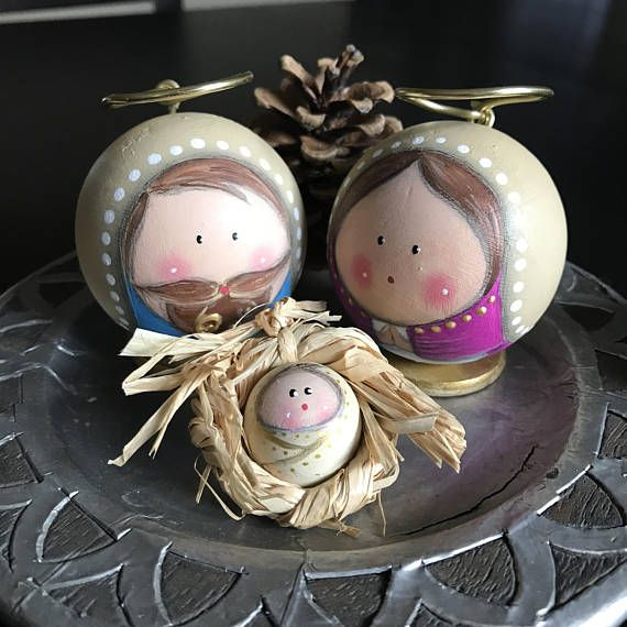 Round Wooden Nativity Set