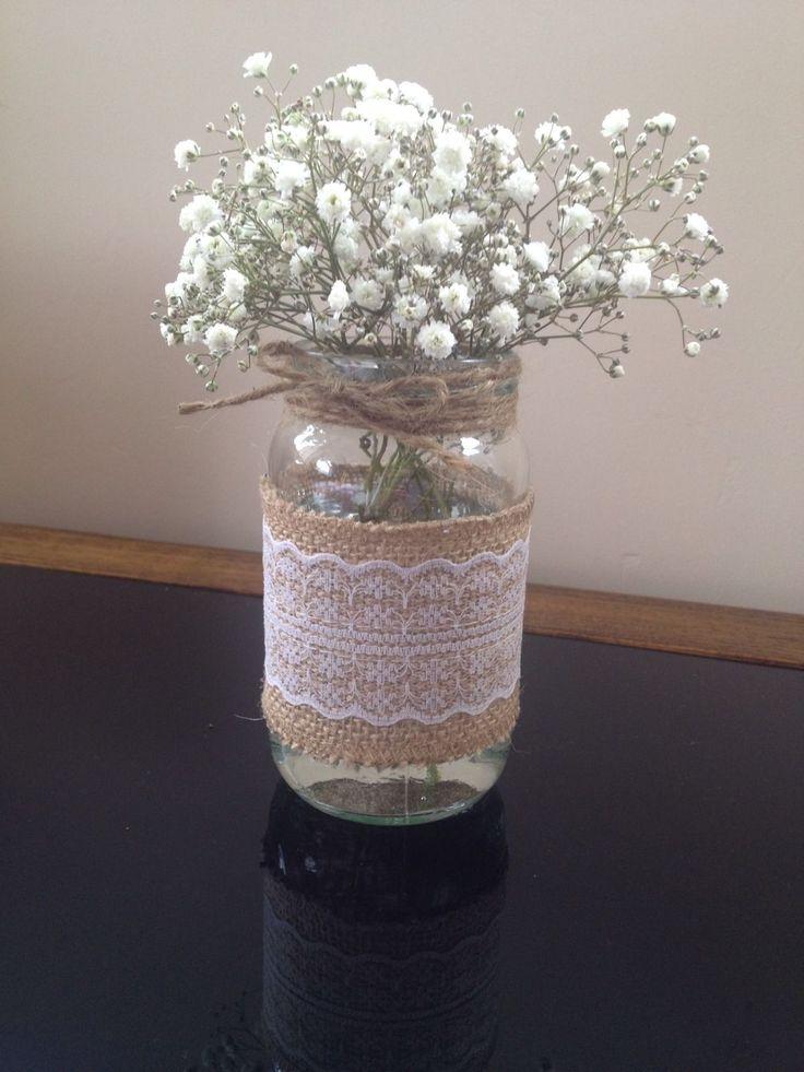 10 20 Glass Jars Vintage Vases Wedding Centrepiece Shabby Chic Burlap Lace Bulk in Casa, arredamento e bricolage, Decorazioni matrimonio, Centritavola e decorazioni   eBay
