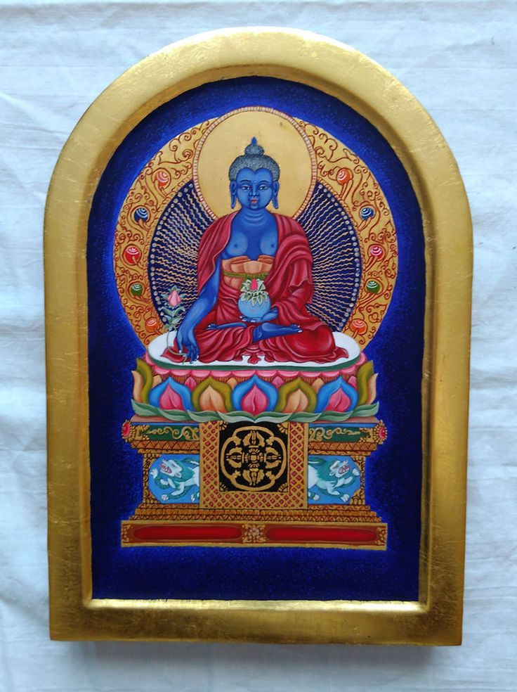 Painting of Medicine Buddha. Wooden board, egg tempera, gesso, 24 carat gold. ArtForSeekers.com
