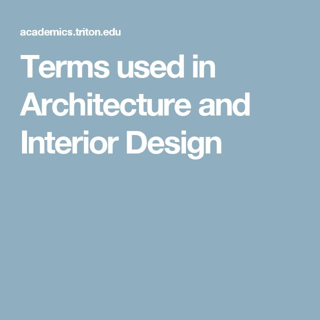 Terms Used In Architecture And Interior Design