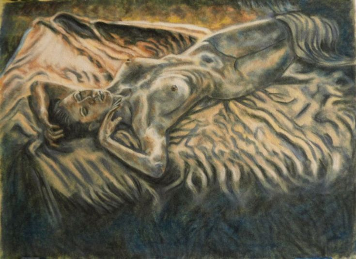 Buy Sleep chameleon, Pastel drawing by Anna  Sasim on Artfinder. Discover original  nude art for sale, paintings, prints, soft pastel art from independent artists, woman drawing, woman painting.