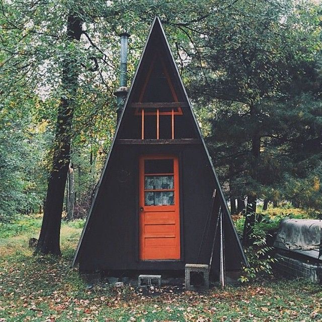 Shack up in the woods and call it a weekend. #cabin #campvibes #modernthrift