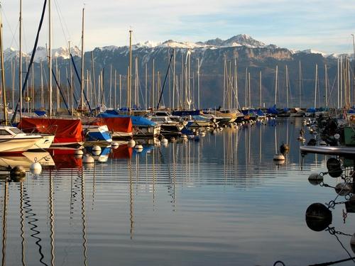 Biking along Lake Geneva. [Ouchy Harbor, Lausanne, Switzerland. Summer 2010]