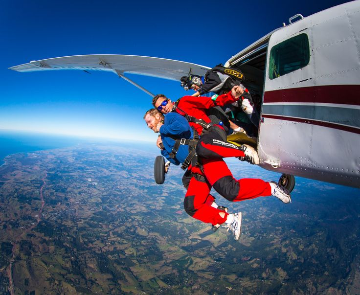 It takes two to tandem: When you tandem skydive, one of our qualified instructors will be with you every step of the way as you have one of the most thrilling experiences of your life! #SkydiveAustralia #skydive #bucketlist #adrenaline #tandemskydiving