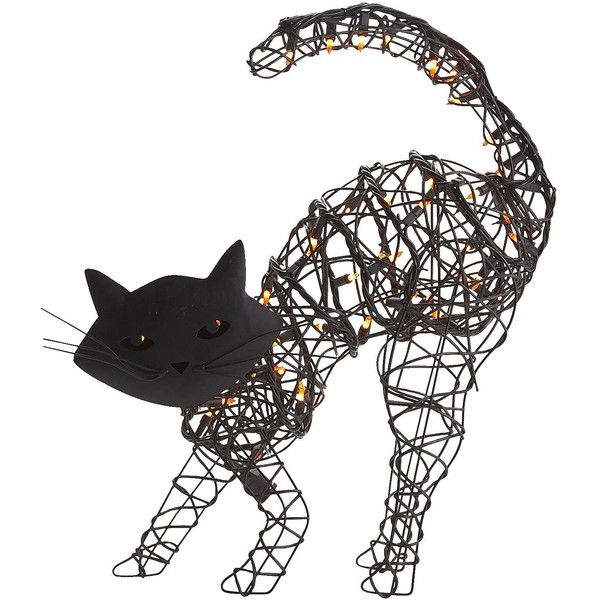 Pier 1 Imports Pre-Lit Cat (185 MXN) ❤ liked on Polyvore featuring home, home decor, holiday decorations, cats, halloween, fillers, decor, holiday, cat home decor and holiday decor