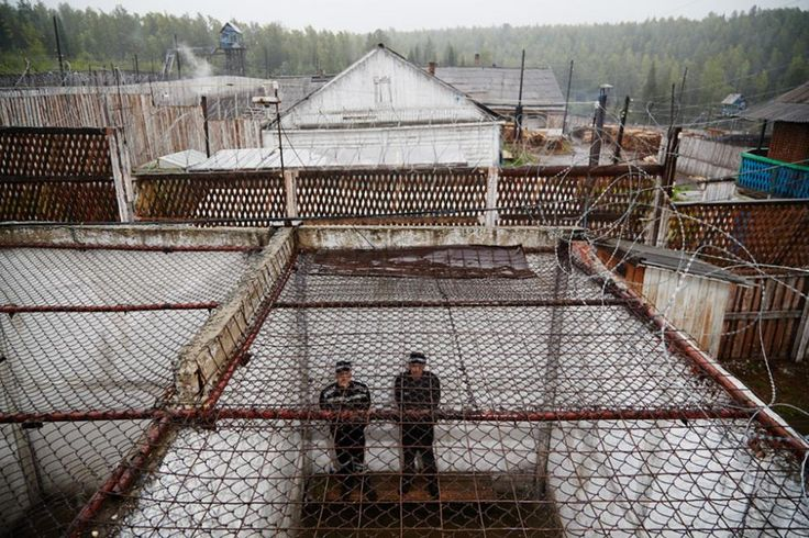 Prisoners in the yard at Penal colony #56, or Black Eagle, a place where those convicted of serious crimes serve their sentences. 260 murderers live here under one of the strictest regimes in Russia. In the USSR it was the only colony for prisoners on death row.