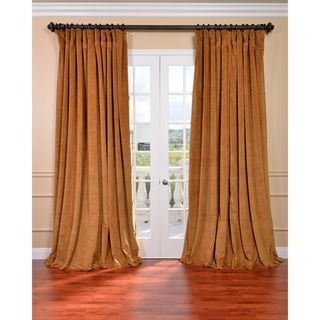 Amber Gold Velvet Blackout Extra Wide Curtain Panel  Is the amber hue a problem with our palette?  - 100 in. width! - MAY be traverse rod friendly (using clips?) - thermal and blackout