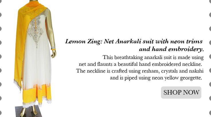 Lemon Zing: Net Anarkali suit with neon trims and hand embroidery! AVAIL 10% Discount with code FESTIVESALE2013  SHOP @ https://www.studiokairi.com/product.php?product=kairi222  * #SALE Offer valid only on Festivities 2013 collection (http://goo.gl/2oxz0Q) ** Offer Valid Till 16 October 2013