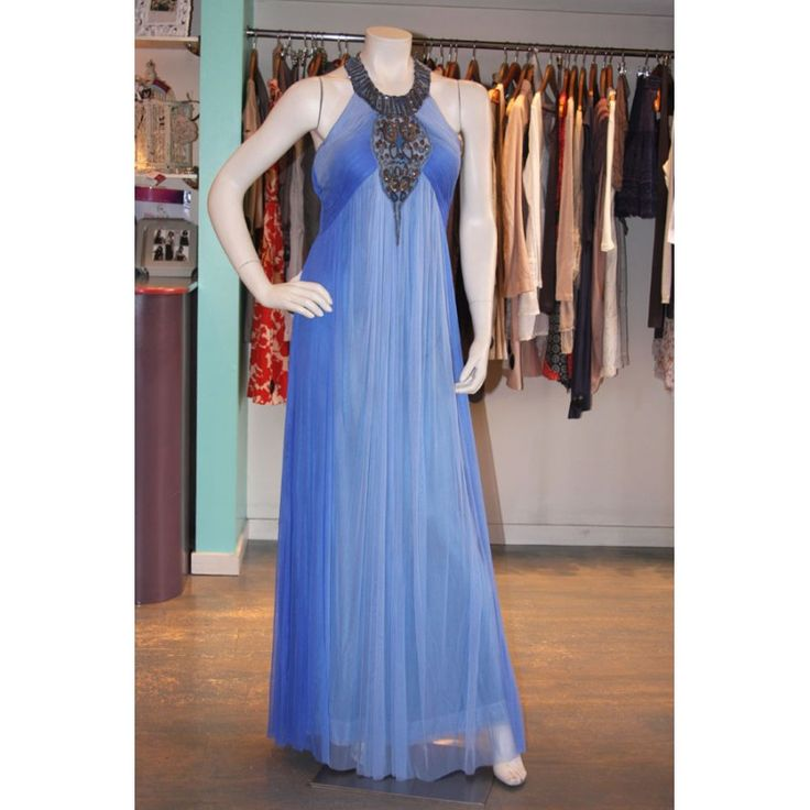 #Striking #royal blue Egyptian style full-length silk net dress with bronze sequins by #Geisha.