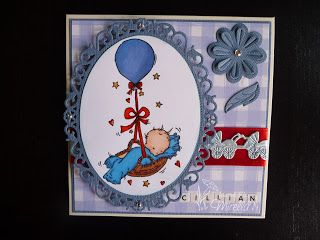 Lili of the Valley Balloon Basket Baby Boy Card #LOTV