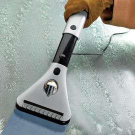 Electric Windshield De-Icer. Plug it into your car outlet and watch ice melt away!