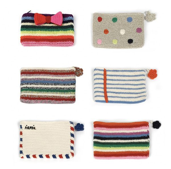 crocheted pouches by Anne-Claire Petit
