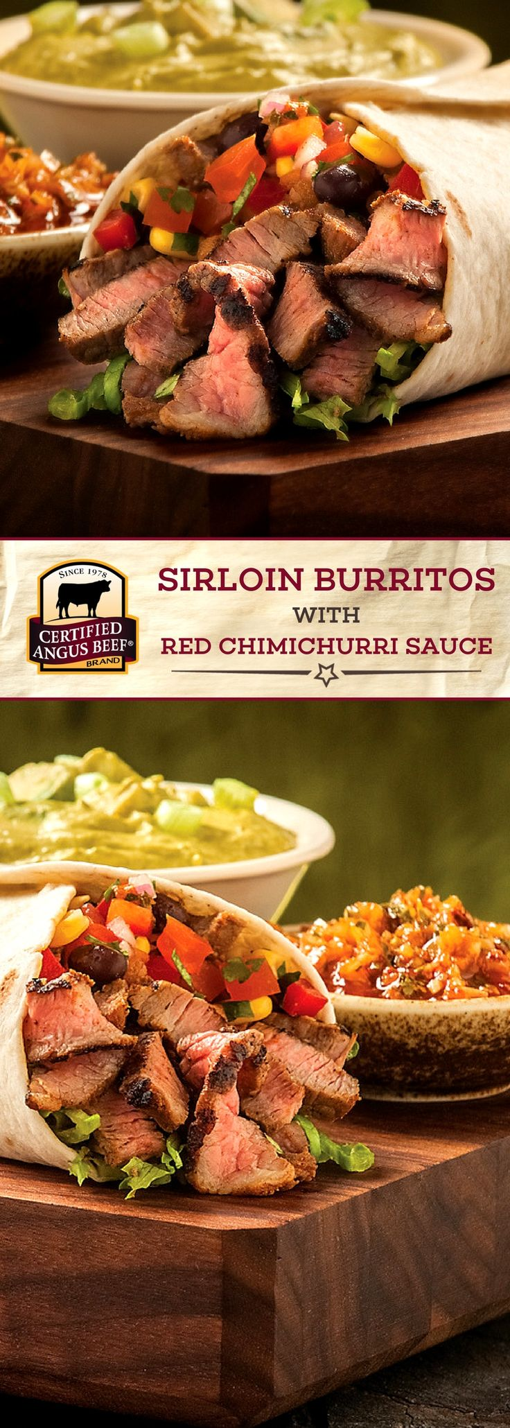 Certified Angus Beef®️ brand Sirloin Burritos with Red Chimichurri Sauce use the best sirloin or skirt steak and a blend of tasty spices for a DELICIOUS burrito recipe! Fresh cilantro, smoked paprika, and red pepper flakes add so much depth to this BEEF recipe. Top with beans, sour cream, shredded chees and guacamole for an IRRESISTIBLE dish!  #bestangusbeef #certifiedangusbeef #beefrecipe #easyrecipes #tacotuesday