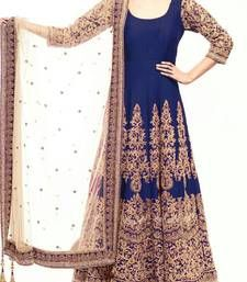 Buy navy blue art silk embroidered semi stitiched salwar with dupatta…