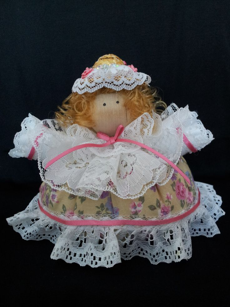 The Sweet Belle. Collectable Pin Cushion Doll. Material: Cotton & Lace. $25.00CAD + S/H if applicable. $0.00 Tax. Please contact Nola at: https://www.facebook.com/elegantcreationsbynola for purchase