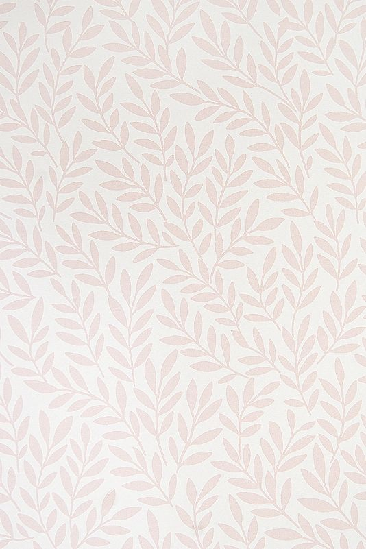 Mikaela Wallpaper White Wallpaper with small design Olive branch-like design in pink.