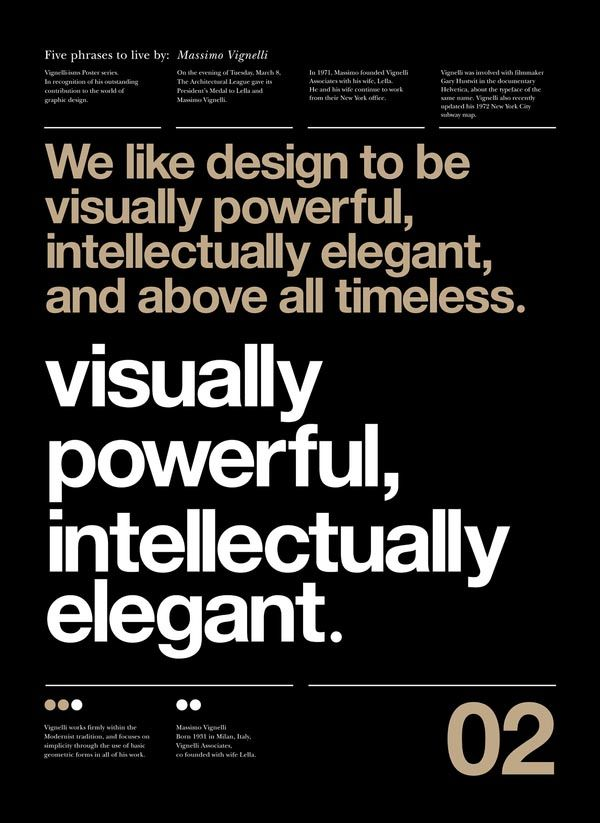 posters by Anthony Neil Dart with quotes by by Massimo Vignelli