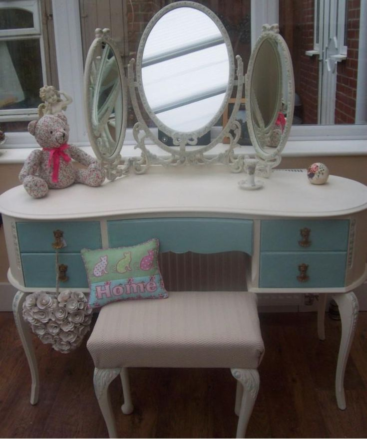SHABBY CHIC KIDNEY SHAPED LOUIS FRENCH STYLE TRIPLE MIRROR