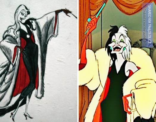 Původní kreslené návrhy Disney postaviček-Cruella de Vil-101 dalmatinů
