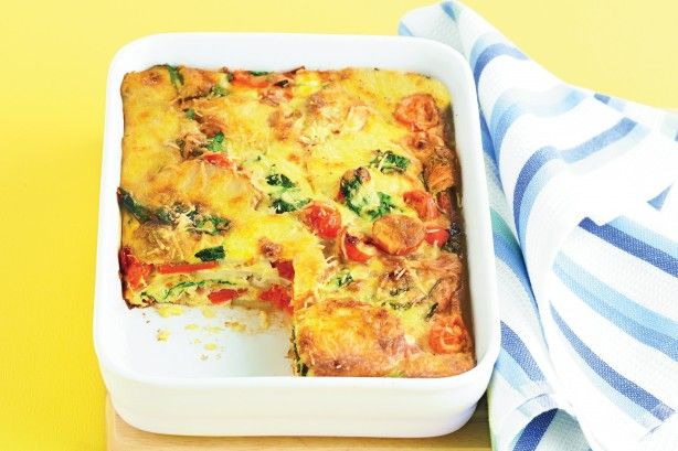 Easy oven-baked frittata: - - - -  Delicious hot or cold, this quick and easy frittata will put a spring in your step.