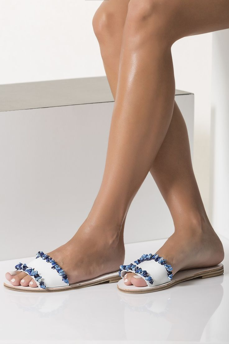 Artisanal Leather Slides in white decorated with blue mother of pearls, Gaia