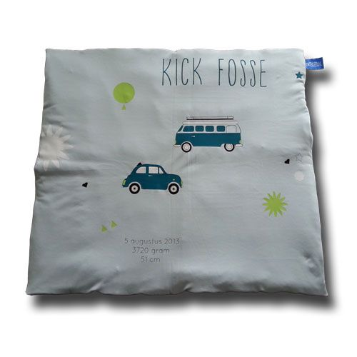 #boxkleed gebaseerd op het geboortekaartje van Kick Fosse. #geboortekleed