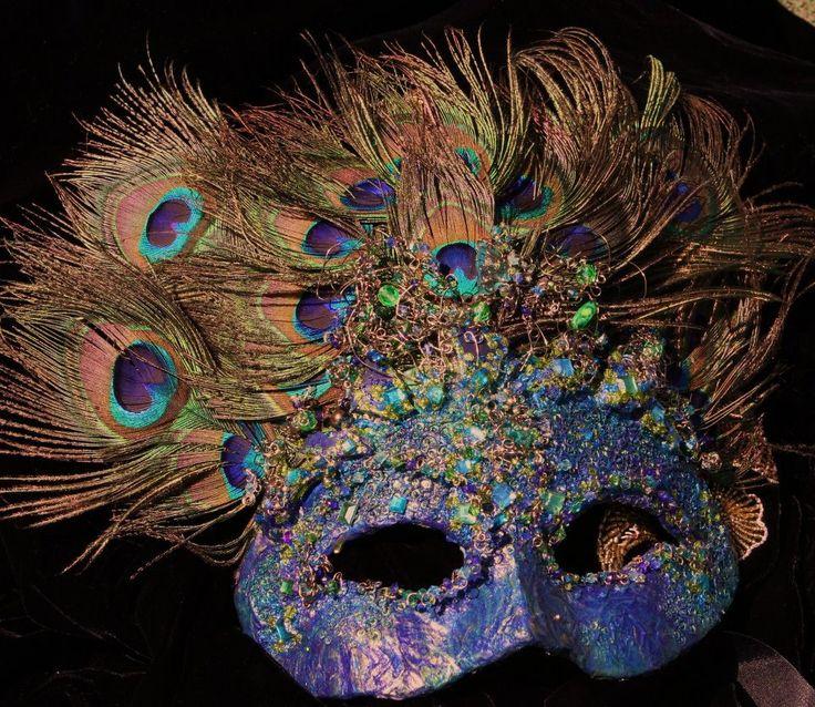 RONIKINS!!! @Veronica Sartori Hernandez Masquerade Mask in Peacock and Swarovski crystal elegant OOAK. $150.00, via Etsy.